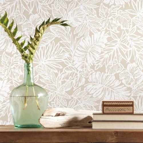 York Wallcoverings Batik Tropical Leaf Beige Peel And Stick Wallpaper Rmk11435wp Bellacor Peel And Stick Wallpaper Peelable Wallpaper Tropical Leaves