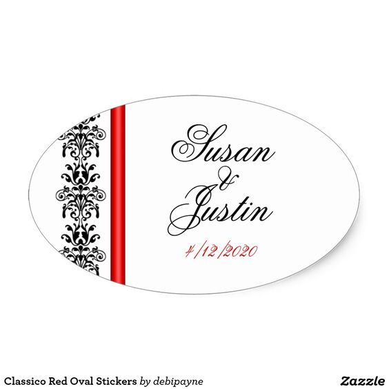 Classico Red Oval Stickers: