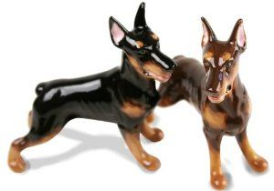 Doberman Handmade Salt and Pepper Shaker (5cm x 8cm) by Blue Witch. $48.00. Individually handmade and hand painted. Genuine Blue Witch Ceramic Product. Salt and Pepper Pair. Product Dimensions : 5cm x 8cm. The elegant, fearless Doberman is shown here on this handmade ceramic cruet set. Originally bred to guard its owners, the Doberman is easily recognisable for its short sleek coat and lean, alert appearance.