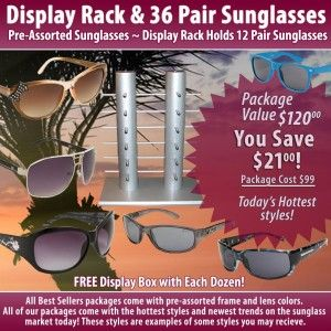 Sunglasses in bulk on displays