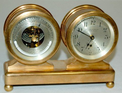Chelsea Desk Clock Barometer Set Marked Co Boston U S A Bronze Case With Beveled Gl Silver Metal Dials Seconds Bit Run