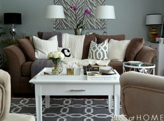 Grey lamps grey and tables on pinterest for Brown couch living room