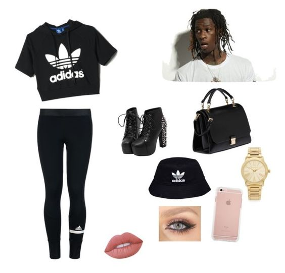 """young thug concert"" by yumyumbubblegum123 ❤ liked on Polyvore featuring adidas, Miu Miu, Michael Kors, adidas Originals and Lime Crime"