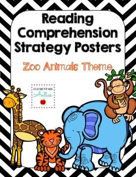 "Reading Comprehension Strategy Posters- Zoo Animals Includes Making Connections, Questioning, Inferring, Synthesizing, Determining the Importance, and Visualizing. Each poster offers an explanation of the strategy and several ""Thinking Stems"" for your students to refer."