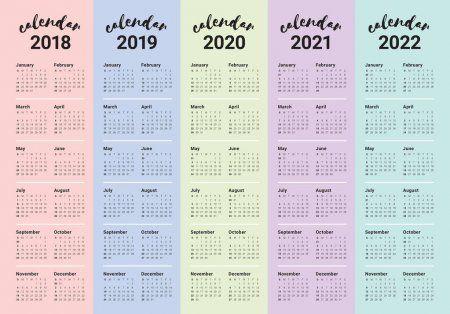 Calendario 2020 2021 2022 Vector de calendario año 2018 2019 2020 2021 2022 | Monthly
