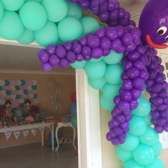 Balões Polvo Fundo do mar