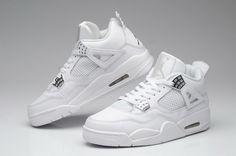 Nike Air Jordan 4 IV Retro Mens Shoes Anniversary White / Metallic Silver
