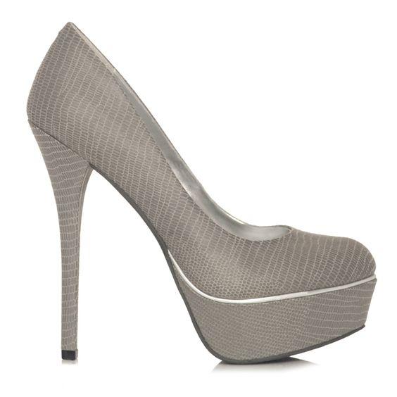 Enid Shoe at JustFabulous: Grey Heel, Grey Pumps