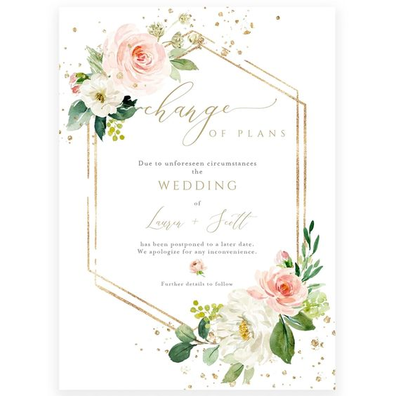 Floral Wedding Postponement Announcement   Forever Your Prints