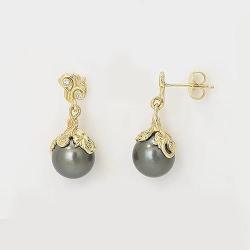 Hawaiian Heirloom Tahitian Black Pearl Earrings With Diamonds In 14k Yellow Gold 9 10mm Black Pearl Earrings Tahitian Black Pearls Pearl Earrings