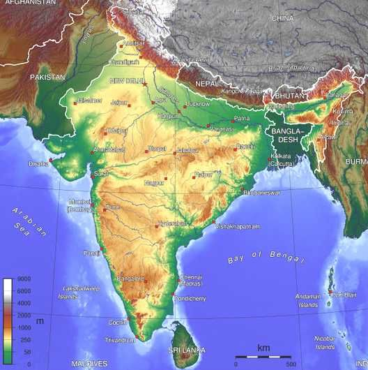 Geographic map of India – Geographical Map Asia