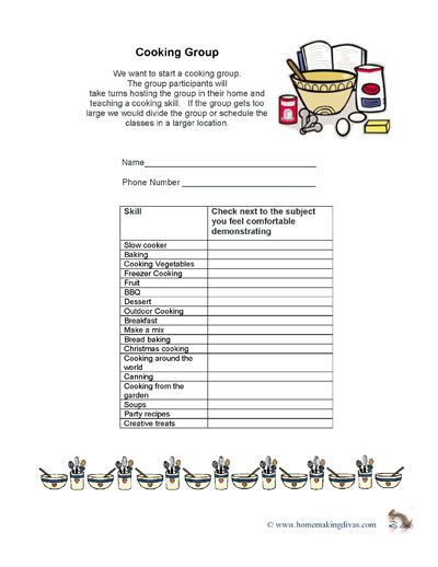 Printable signup sheet to organize cooking classes in Relief - how to create a signup sheet