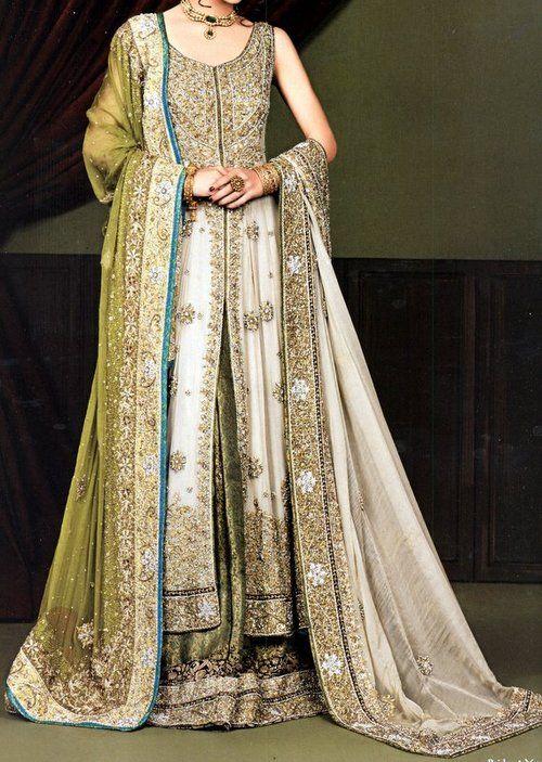 cool coloured long bridal anarkali