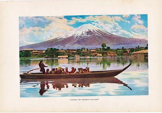vintage print of Mount Fuji from the 1930's #mountfugi #japan #madeinjapan #japanese #vintageboat