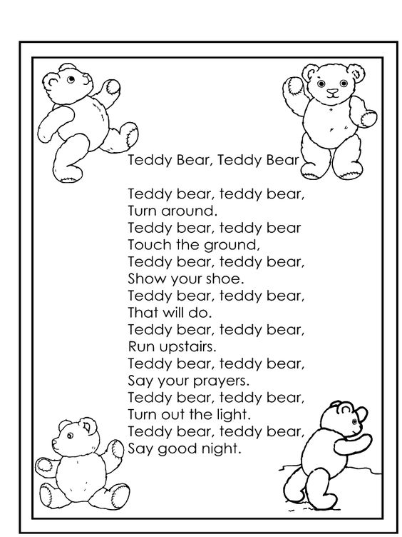 teddy bear teddy bear nursery rhyme