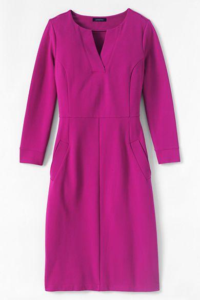 Women's 3/4-sleeve Ponté Sheath Dress from Lands' End