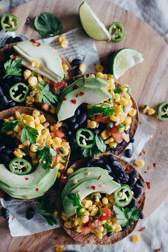 ... sweet corn salsa salsa tostadas beans avocado spicy black beans black