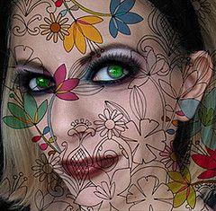 flower woman photoshop self portrait