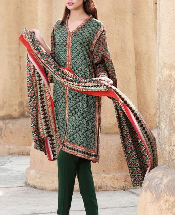 Buy Green/Dark Brown Printed Viscose Linen Dress by Nishat 2015.