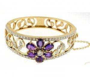 Retro 1960's Bracelet Amethyst & 2.40 carats of diamonds bangle Platinum & 18K yellow gold Circa 1960's