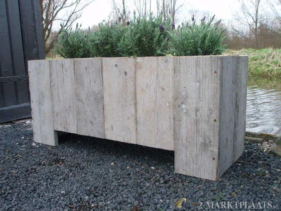 Steigerhouten plantenbak loungeset tafels tuin en terras bloembakken - Deco massief buiten ...