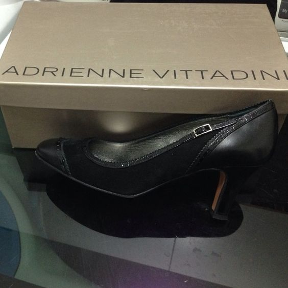 Adrienne Vittadini black kitten heels Black kitten heels by Adrienne Vittadini. Part suede, part leather. Very comfortable! Comes with the dust bag and a shoebox Adrienne Vittadini Shoes Heels
