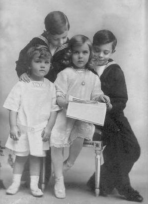 From left: Their Royal Highnesses Prince Bertil (1912-1997), Prince Sigvard (1907-2002), Princess Ingrid (1910-2000) and Prince Gustav Adolf (1906-1947) of Sweden