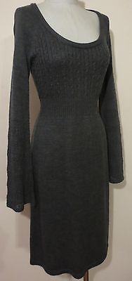 Calvin Klein Sweater Dress, Gray Scoop Neck w/ Bell Sleeves, Size S, Merino Wool