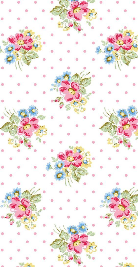 White pink blue vintage retro floral bouquet spots dots ...