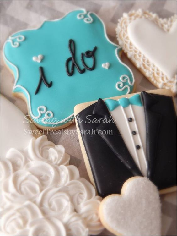 I do Wedding Cookies  Engagement Tux cookie White Blue