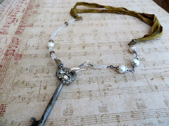 Antique #SkeletonKey Pendant Necklace with Moonstone, Pearl & Sari Silk by tuscanroad