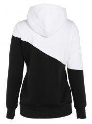 Color Spliced Pullover Hoodie - BLACK XL