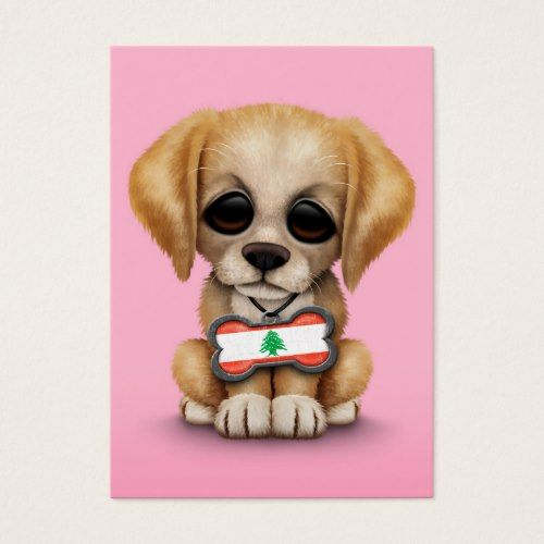 Cute Puppy With Lebanese Flag Dog Tag Pink Zazzle Com Cute