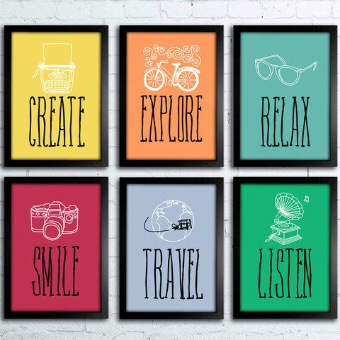 Kit create explore smile travel relax listen decor - Posters decorativos ...