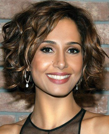 dark brown curly short hair with caramel highlights hair