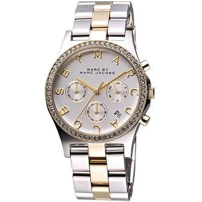 Marc by Marc Jacobs MBM3197 Women's Henry Chrono Silver Dial Crystal Accents Bezel Two Tone Stainless Steel Bracelet Watch
