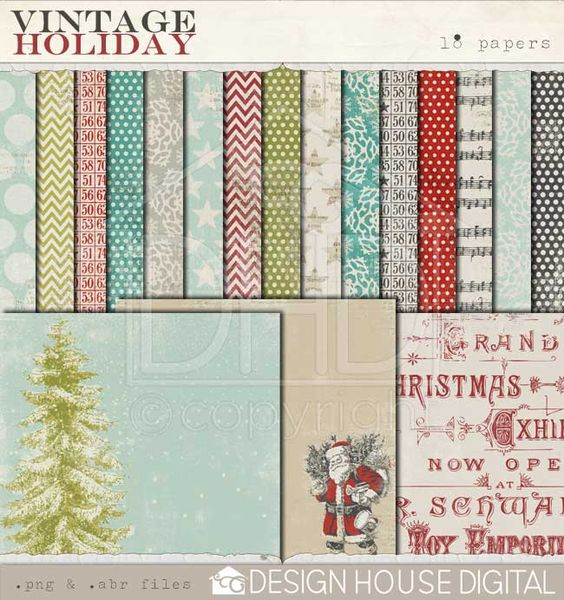 Vintage Holiday - Digital Papers