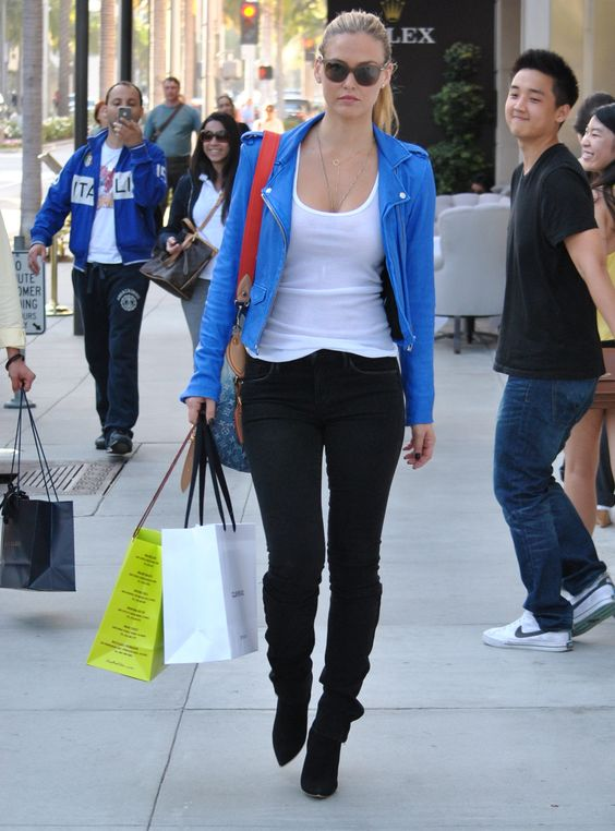 Bar Rafaeli blue leather jacket black skinny jeans | Style