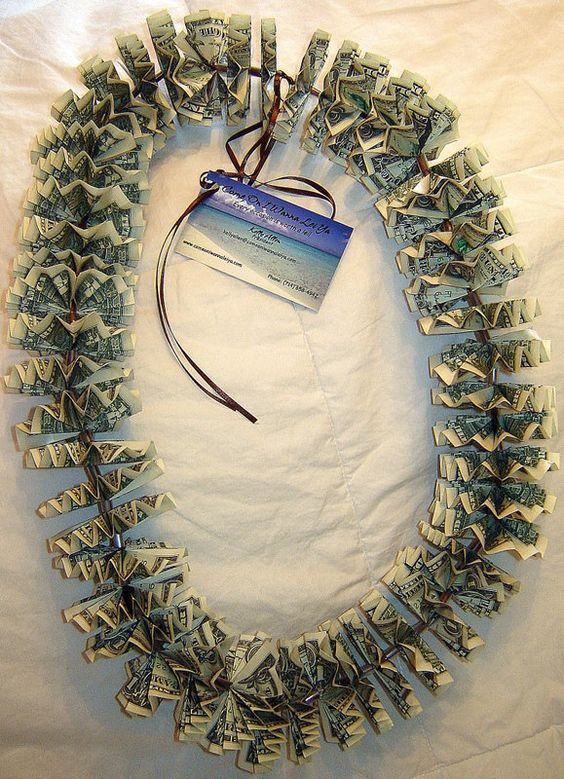 Lei Can Be Made With Construction Paper Yarn Solid: Money Lei - Can Someone Make This For Me!!!