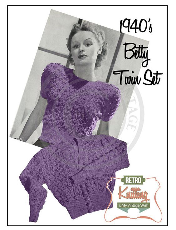 Women's Betty Twinset 1940's Vintage Knitting Pattern - PDF Instant Download