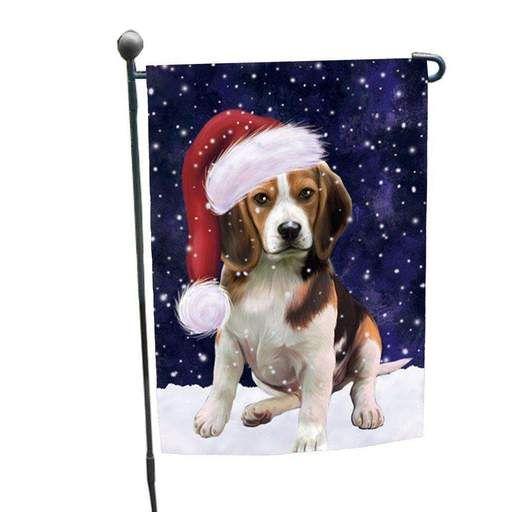 Let It Snow Christmas Holiday Beagles Dog Wearing Santa Hat Garden