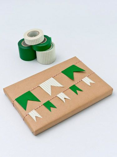 Green flag banner on gift wrap ~ made from washi tape #DIY