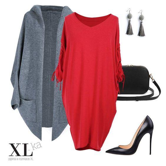 Czerwona sukienka doskonale podkreśli urodę wielu Pań. Stonowany, szary sweter nada spokojny i niebanalny charakter Twojej stylizacji.  #sukienkaxxl #sweterxxl #plussize #modaxxl