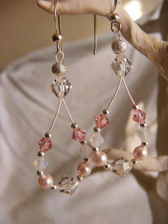 Pink Swarovski crystal and pearl earrings | Jewelry ...