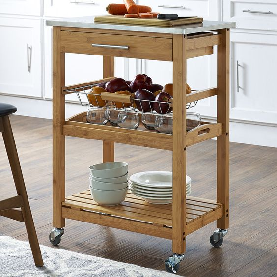 Charlton Home Arbor Oaks Kitchen Cart with Stainless Steel Top
