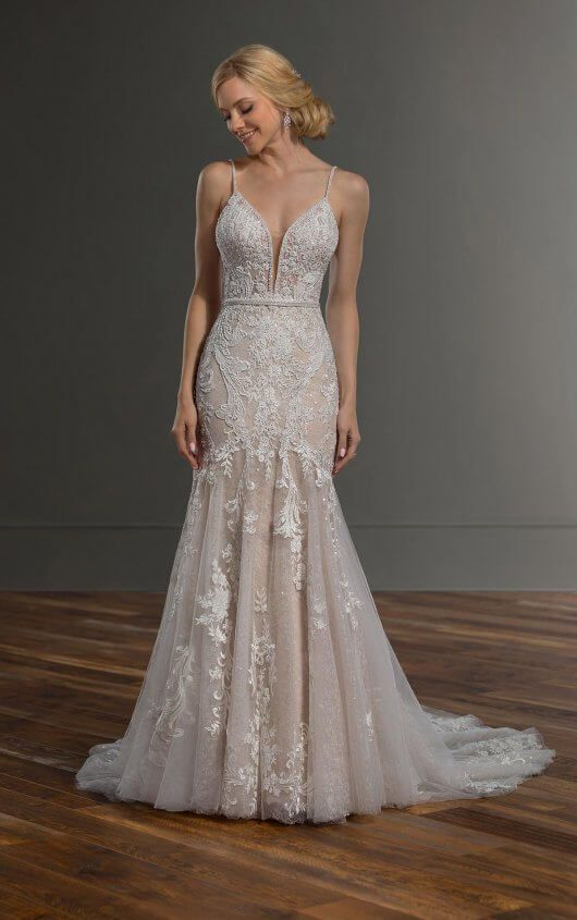 Shimmering Lace Wedding Dress With Strappy Back Martina Liana Strappy Wedding Dress Martina Liana Wedding Dress Wedding Dresses Lace