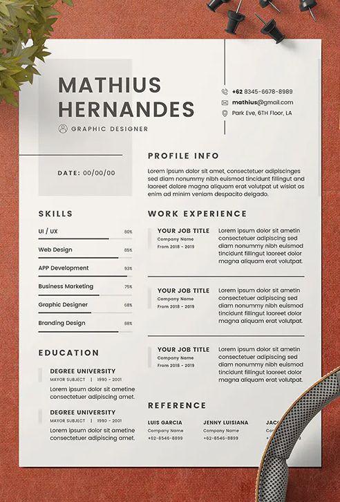 Minimalist Cv Resume Template Resume Design Creative Graphic Design Resume Resume Design