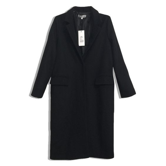 Woman Black Coat Tailored Collar Simple Oversize S | Coats Simple