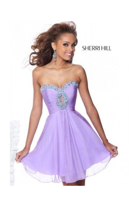 2014 Lavender Short Strapless Dress for Prom by Sherri Hill ...