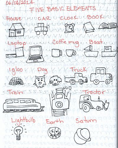More visual vocabulary practices from The Sketchnote Handbook's exercises.
